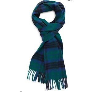 NWT Nordstrom Cashmere Blue and Green Fringe Scarf